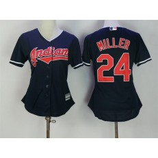 MLB Cleveland Indians 24 Andrew Miller Navy Blue Stitched Majestic Cool Base Women Jersey